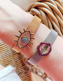 Fashion Gold Stainless Steel Copper Inlay Zircon Big Eye Bracelet