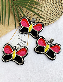 Fashion Color Felt Cloth Embroidery Rhinestone Butterfly Earrings