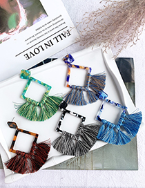 Fashion Blue Resin Square Tassel Earrings