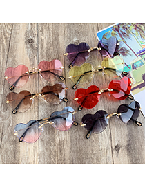 Fashion Purple + Pink Alloy Resin Love Sunglasses