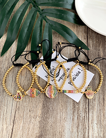 Fashion Gold Copper Inlaid Zircon Rope Beaded Square Bracelet