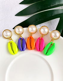 Fashion Red Alloy Shell Pearl Earrings