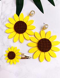 Fashion Orange Cloth Pearl Sun Flower Earrings