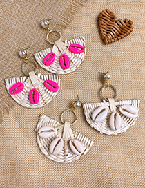 Fashion White Rattan Woven Shell Fan-shaped Earrings