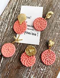 Fashion Blue Alloy Woven Wood Conch Round Earrings