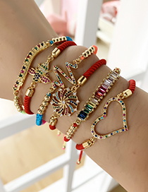 Fashion Red Copper Inlaid Zircon Braided Rope Beaded Bracelet