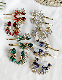 Fashion Red Alloy-studded Geometric Shape Hairpin