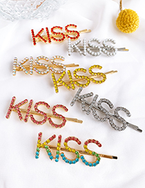 Fashion Pearl Alloy Diamond Letter Kiss Hairpin