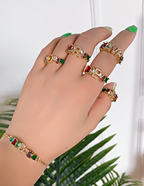 Fashion Golden A Copper Inlaid Zircon Letter Ring