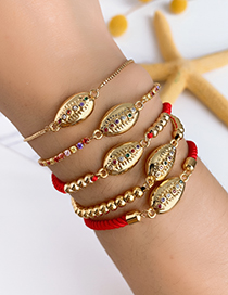 Fashion Gold Copper Inlaid Zircon Braided Rope Shell Bracelet