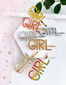 Fashion Champagne Alloy Diamond Letter Girl Hairpin