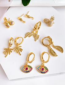 Fashion Gold Copper Inlay Zircon Eye Studs