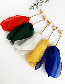 Fashion Yellow Alloy Fabric Tassel Earrings