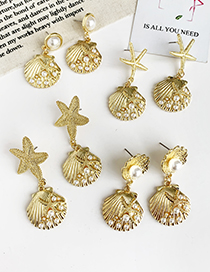 Fashion Gold Alloy Pearl Shell Starfish Earrings