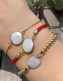 Fashion Ginger Yellow Copper Shell Braided Rope Round Bracelet
