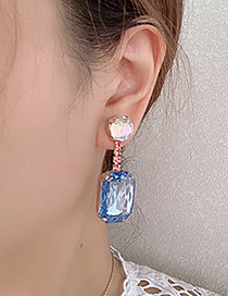 Fashion Blue Alloy Studded Square Earrings