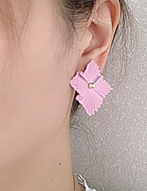 Fashion Pink Alloy Square Flower Earrings