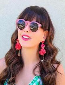 Fashion Rose Red Alloy Rice Beads Flamingo Earrings