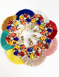Fashion Lake Green Alloy Rice Beads Shell Tassel Earrings