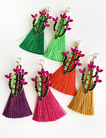 Fashion Fluorescent Green Alloy Studded Pearl Cactus Tassel Earrings