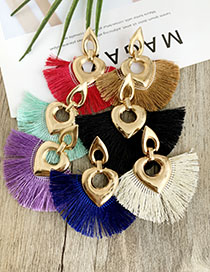 Fashion Creamy-white Alloy Hollow Love Tassel Earrings