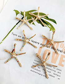 Fashion Pearl Alloy Diamond-studded Pearl Starfish Earrings