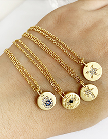 Fashion Gold Copper Inlaid Zircon Round Coconut Tree Necklace