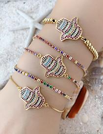 Fashion Gold Copper Inlay Zircon Palm Bracelet