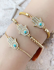 Fashion Gold Copper Inlay Zircon Palm Bracelet