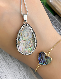 Fashion Silver Copper Inlaid Zircon Shell Drop Necklace
