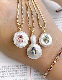 Fashion Gold Copper Inlaid Zircon Pearl Geometric Palm Necklace