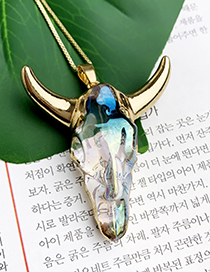 Fashion Golden Copper Inlaid Zircon Lock Crescent Necklace