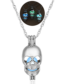 Fashion Sky Blue Skull Head Luminous Cage Hollowed Out Skull Necklace