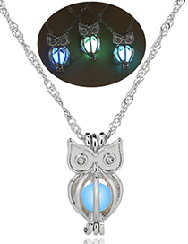 Fashion Sky Blue Owl Hollow Owl Night Bead Necklace