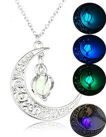 Fashion Blue-green (light Blue) Moon Luminous Necklace