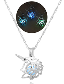 Fashion Blue And Green Unicorn Openwork Unicorn Opens The Luminous Necklace