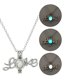 Fashion Blue Green Open Love Glow Necklace