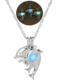 Fashion Sky Blue Dolphin Luminous Cage Necklace