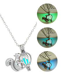 Fashion Sky Blue Openwork Luminescent Squirrel Necklace