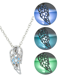 Fashion Blue Green Hollow Single-wing Luminous Necklace