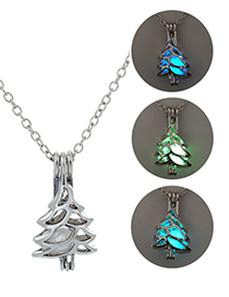 Fashion Yellow Green Christmas Tree Shape Can Open Luminous Necklace