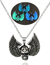 Fashion Blue And Green Luminous Winged Skull With A Skull