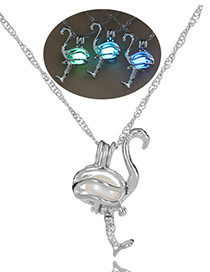 Fashion Blue-green Crane Crane Style Night Light Bead Cage Necklace
