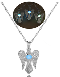 Fashion Sky Blue Wings Owl Wings Luminous Beads Necklace