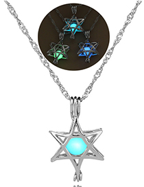Fashion Blue Green Six-star Hollow Six-pointed Star Luminous Necklace