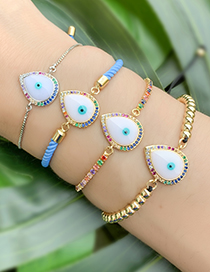 Fashion Gold Copper Inlaid Zircon Beaded Drop Eye Bracelet