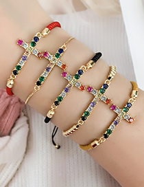 Fashion Ginger Brass Zircon Braided Rope Cross Bracelet