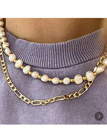 Fashion Golden Alloy Chain Pearl Double Necklace