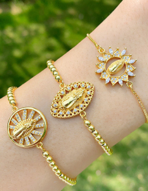 Fashion Hollow Round Gold Maria Bracelet With Copper Zircon