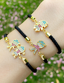 Fashion Boys And Girls Black Rope Copper Inlaid Zircons Cartoon Character Bracelet